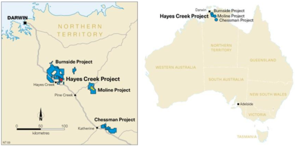 The location of PNX's Hayes Creek project